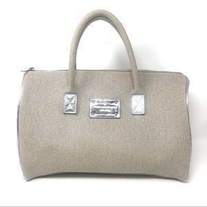 Michael Kors Tan Silver Tan Woven Satchel Handbag
